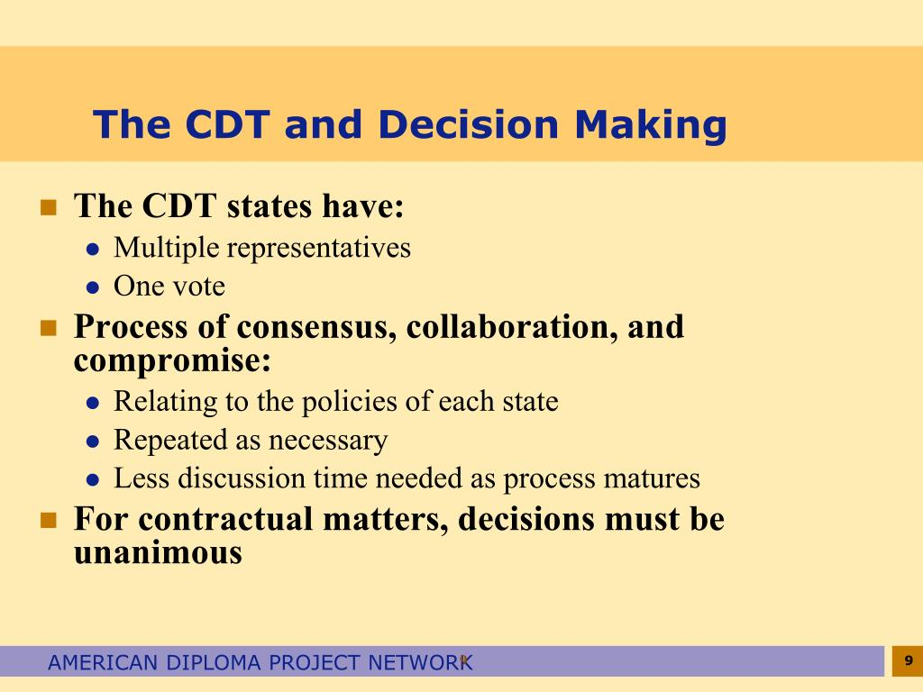The CDT and Decision Making