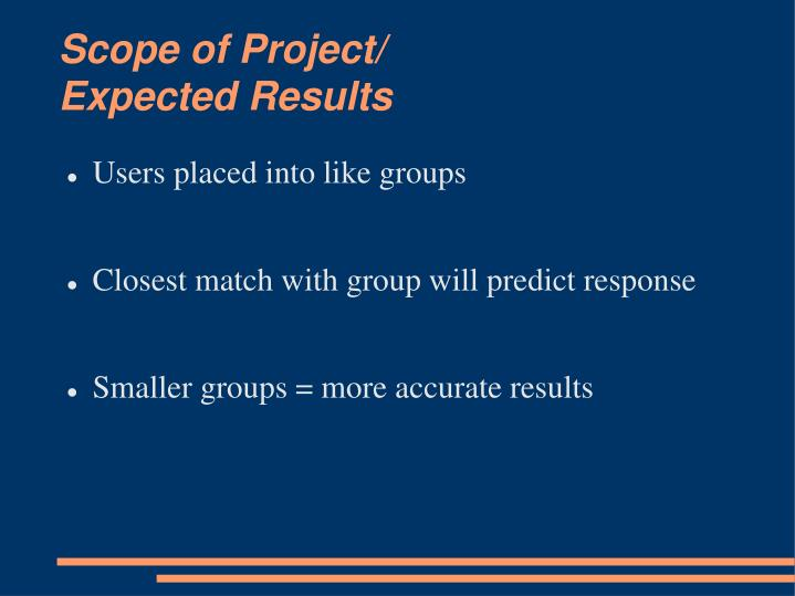 Scope of project expected results