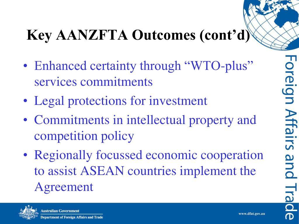 Key AANZFTA Outcomes (cont'd)