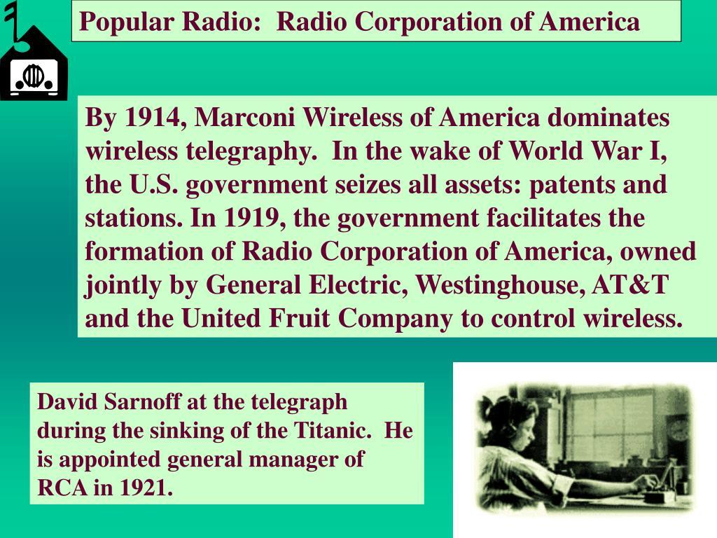 Popular Radio:  Radio Corporation of America