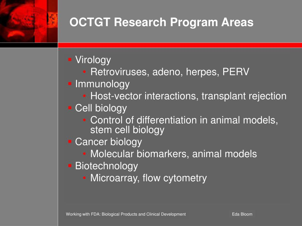 OCTGT Research Program Areas
