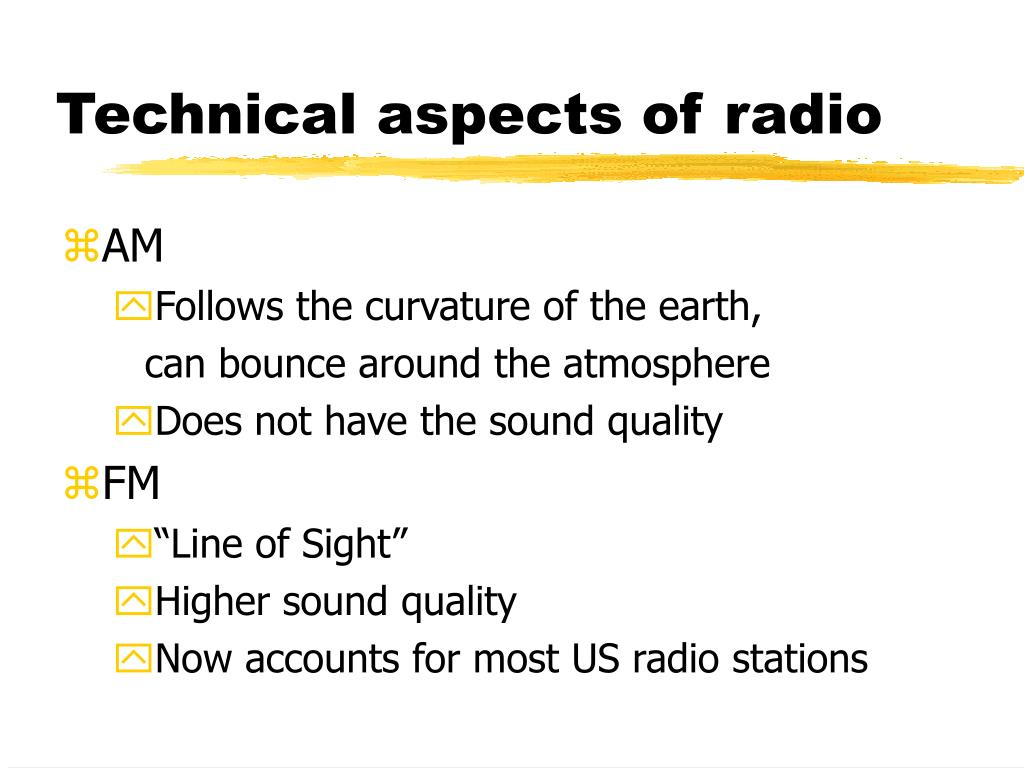 Technical aspects of radio