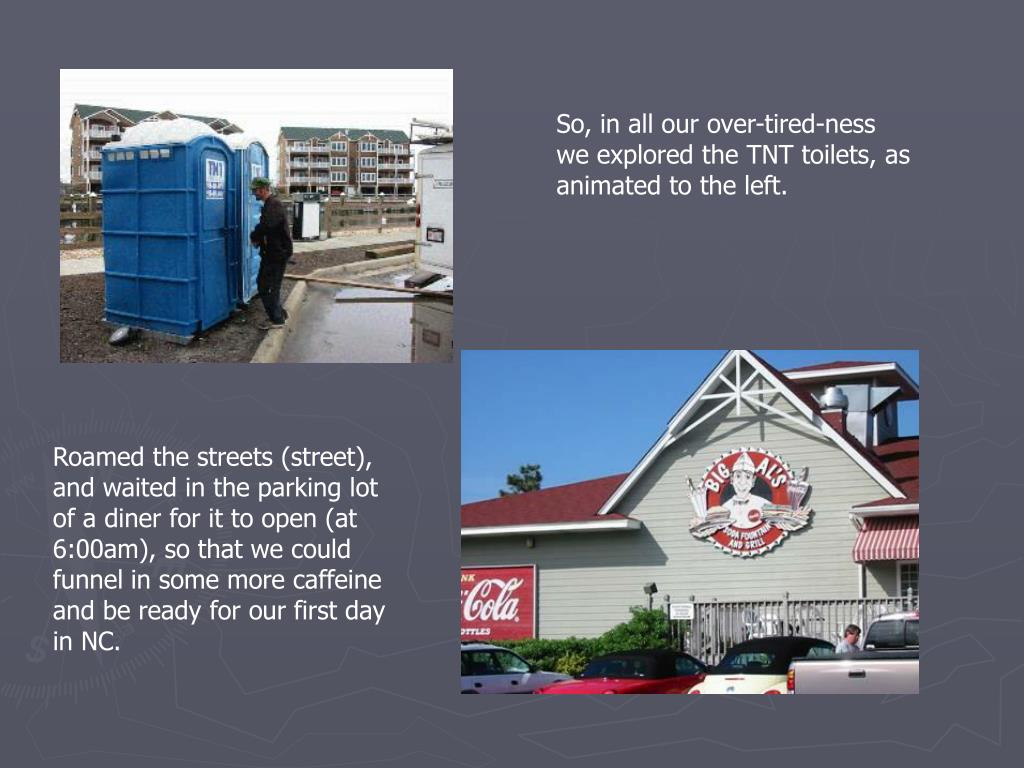 So, in all our over-tired-ness we explored the TNT toilets, as animated to the left.