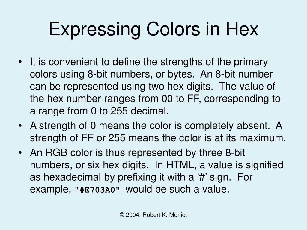 Expressing Colors in Hex
