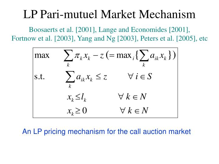 LP Pari-mutuel Market Mechanism