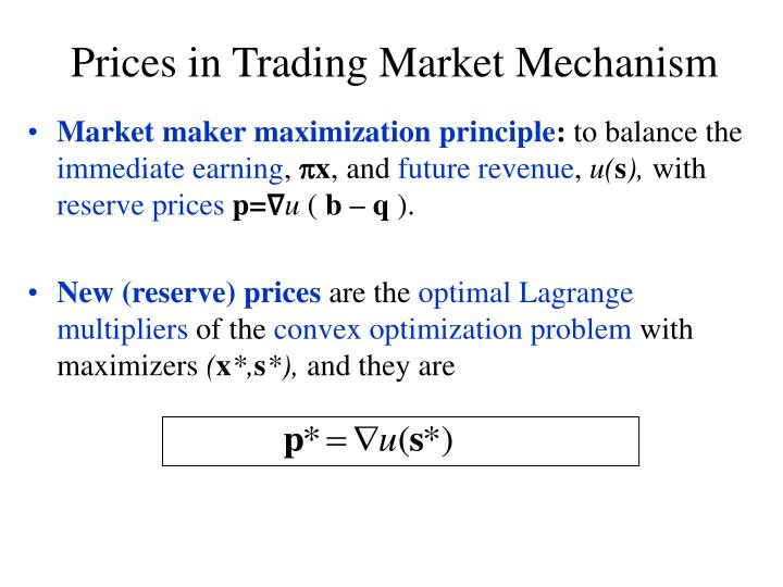 Market maker maximization principle
