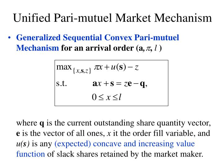 Generalized Sequential Convex Pari-mutuel Mechanism