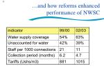 and how reforms enhanced performance of nwsc