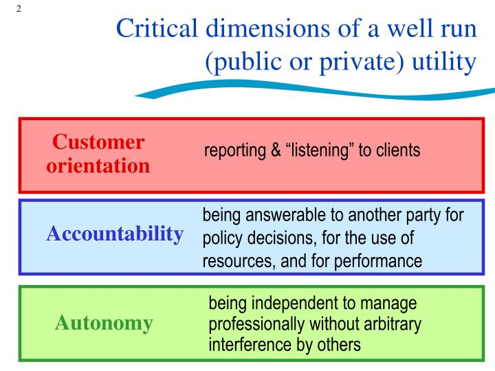 Critical dimensions of a well run public or private utility