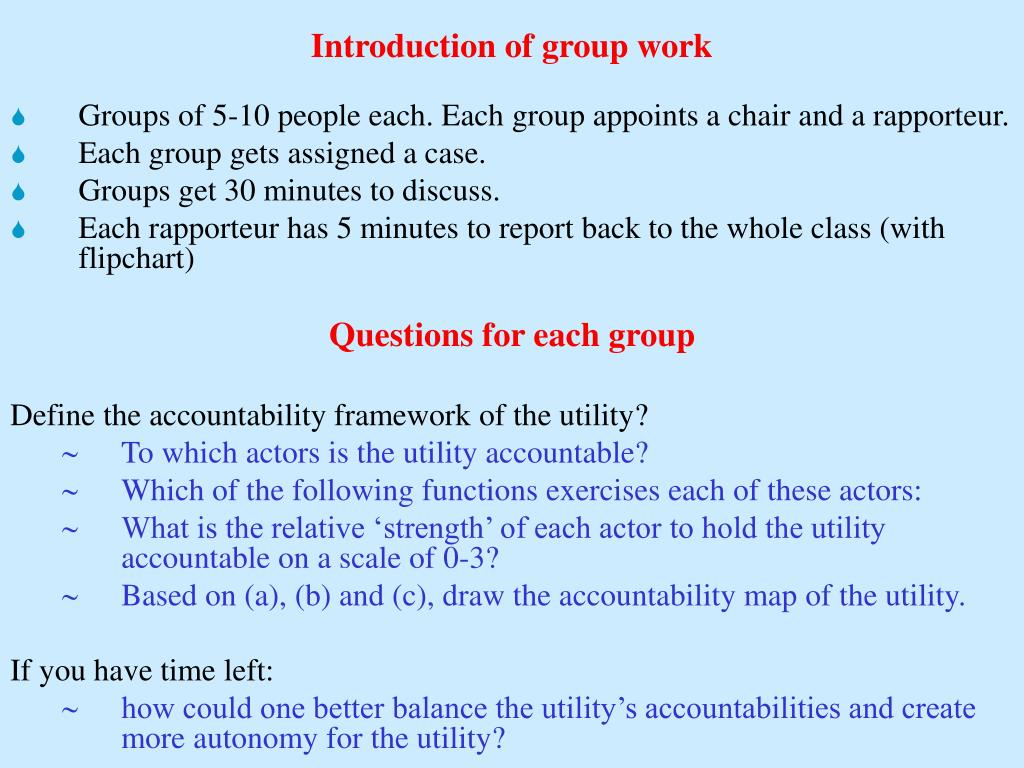 Introduction of group work