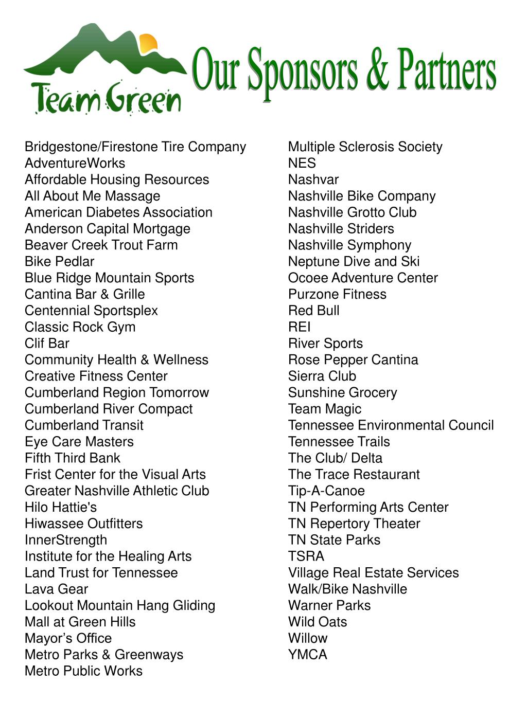 Our Sponsors & Partners
