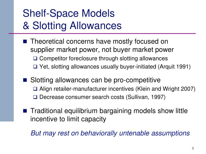 Shelf space models slotting allowances