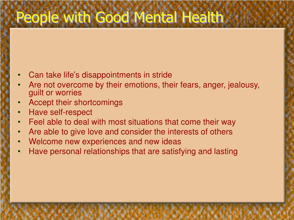 People with Good Mental Health