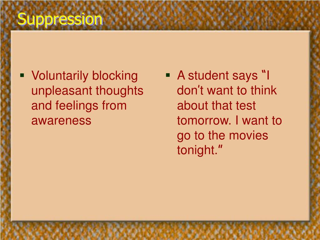 Voluntarily blocking unpleasant thoughts and feelings from awareness