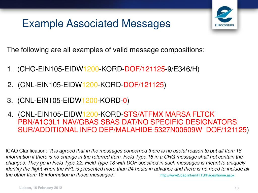 Example Associated Messages