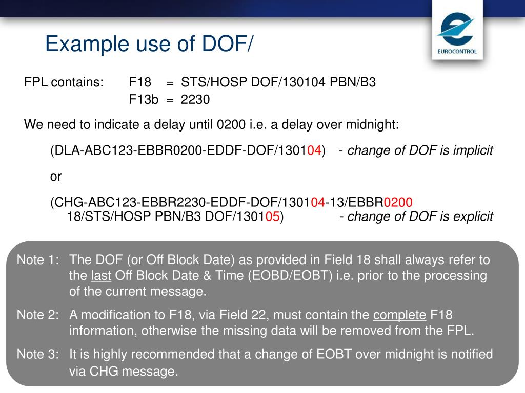 Example use of DOF/