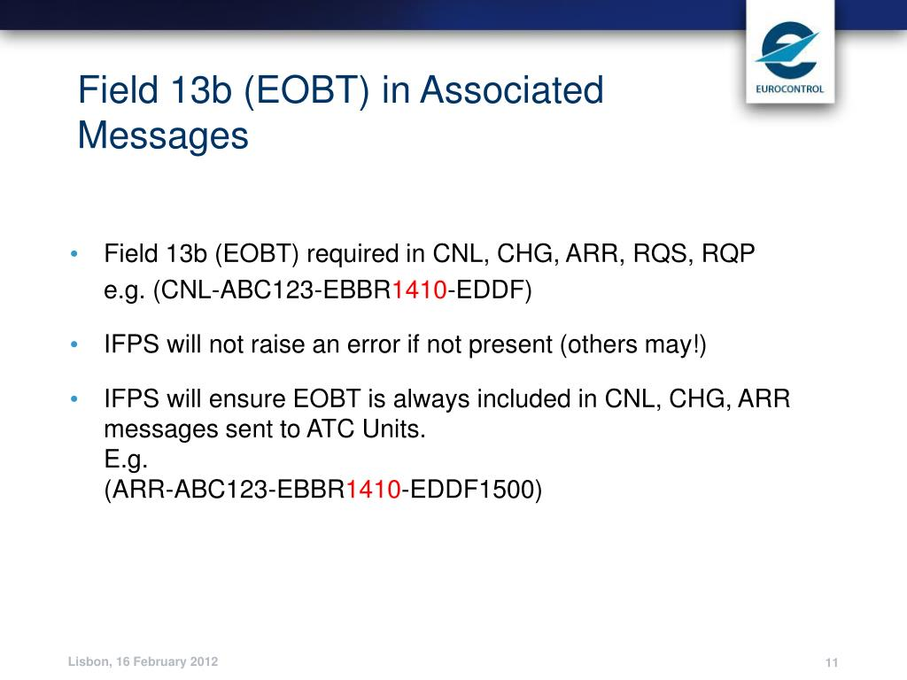 Field 13b (EOBT) in Associated Messages