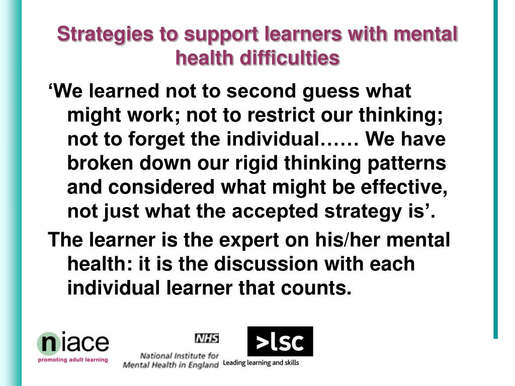 Strategies to support learners with mental health difficulties