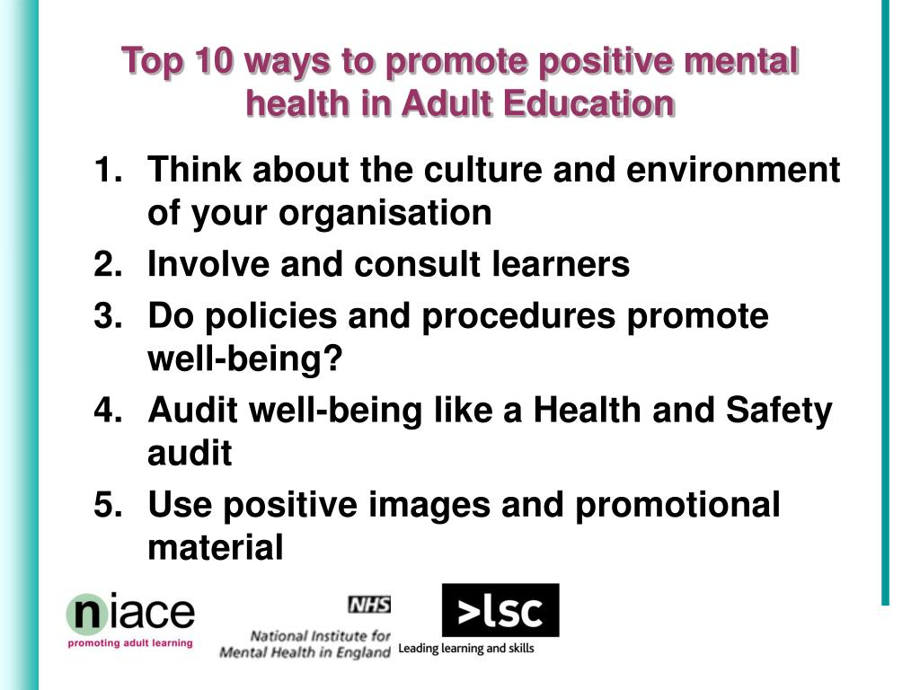 Top 10 ways to promote positive mental health in Adult Education