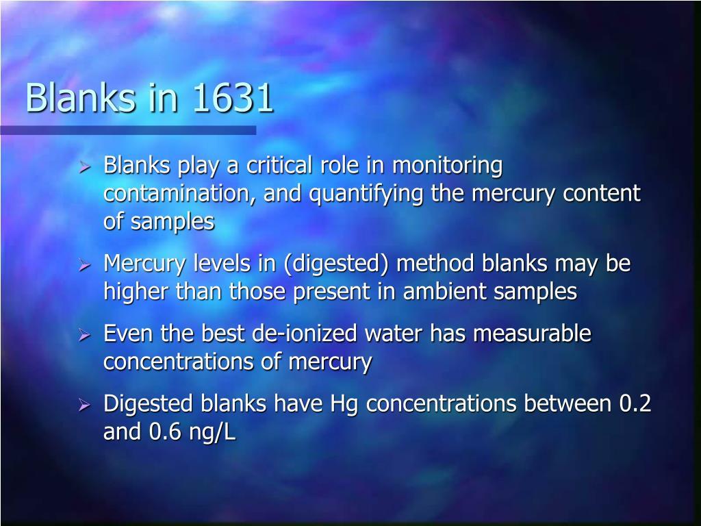 Blanks in 1631