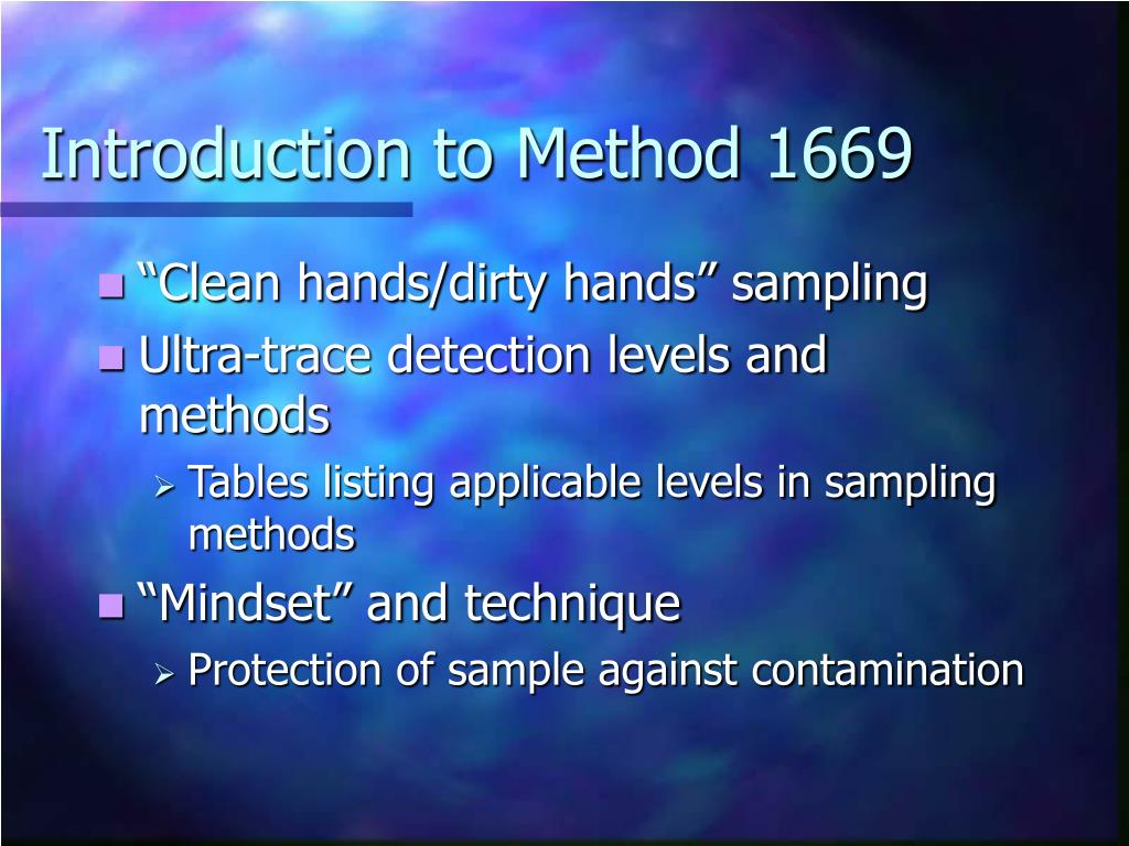 Introduction to Method 1669