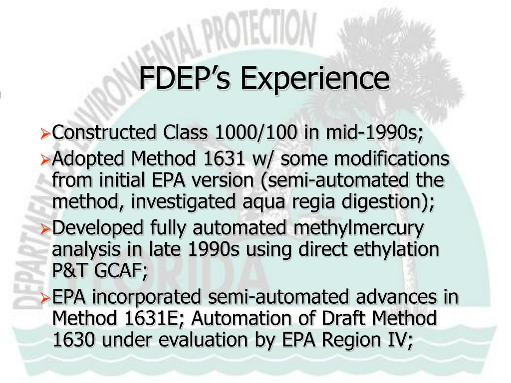 FDEP's Experience
