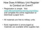 how does a military unit register to conduct an event