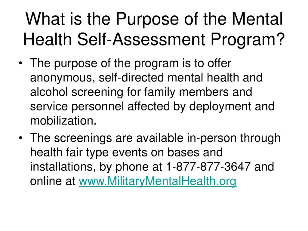 What is the Purpose of the Mental Health Self-Assessment Program?
