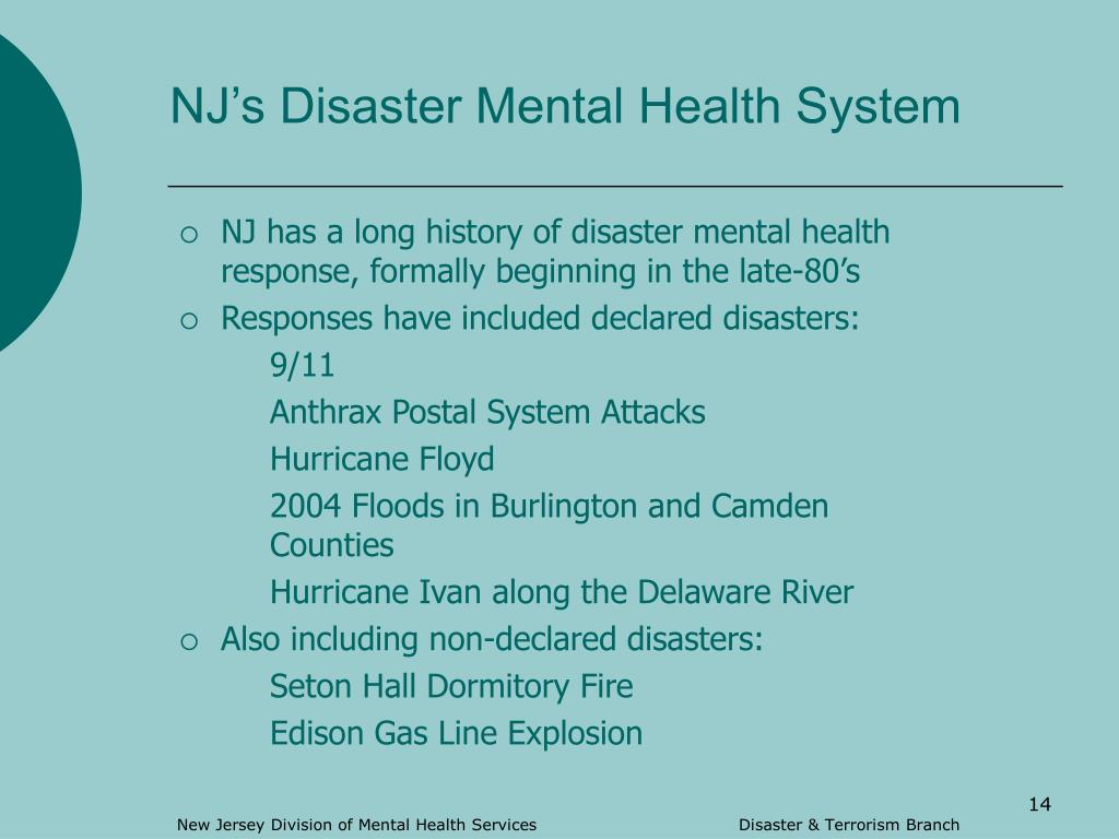 NJ's Disaster Mental Health System