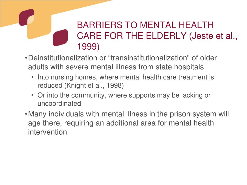 BARRIERS TO MENTAL HEALTH CARE FOR THE ELDERLY (Jeste et al., 1999)