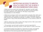 improving access to mental health care for the elderly apa recommendations 200330