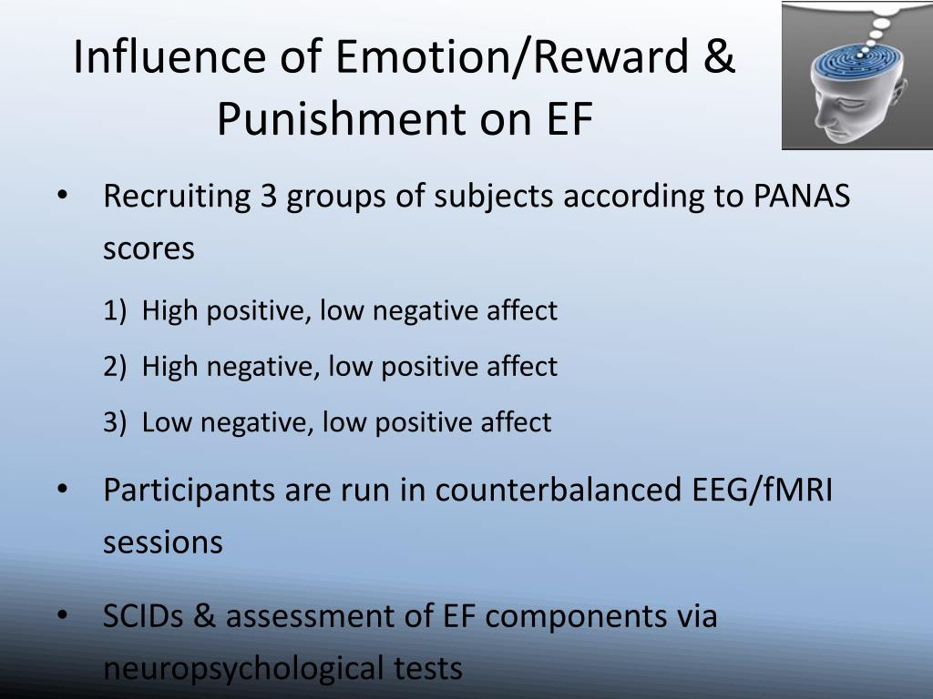 Influence of Emotion/Reward & Punishment on EF