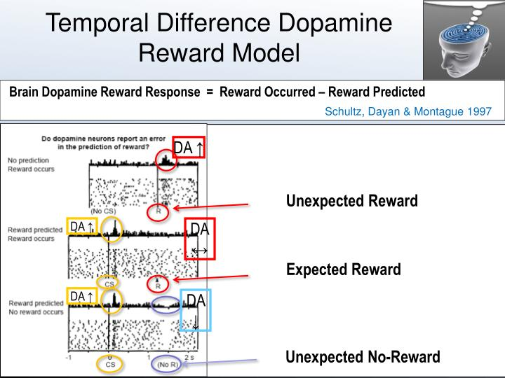 Temporal difference dopamine reward model