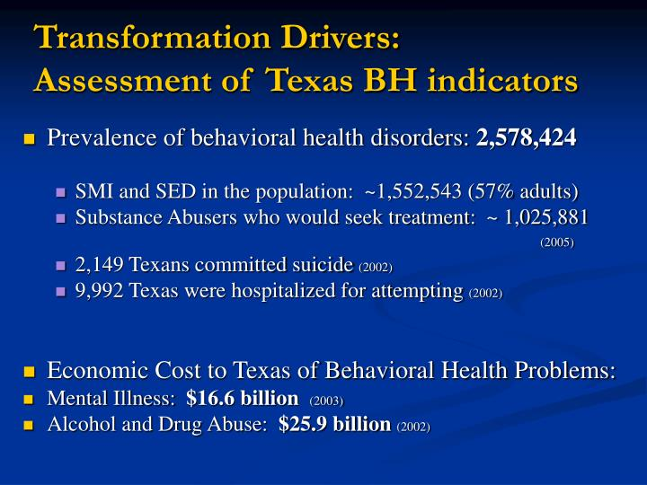 Transformation drivers assessment of texas bh indicators