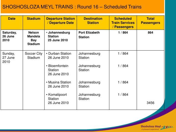 SHOSHOSLOZA MEYL TRAINS : Round 16 – Scheduled Trains