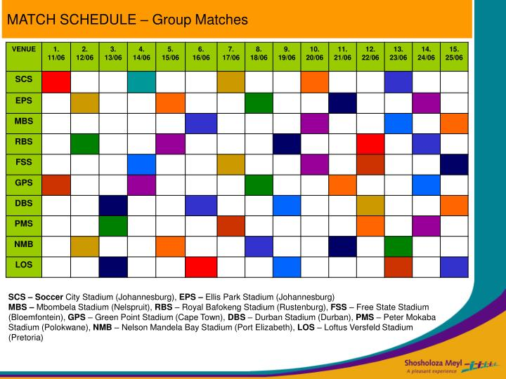MATCH SCHEDULE – Group Matches