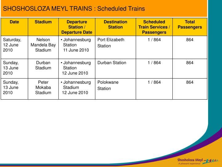 SHOSHOSLOZA MEYL TRAINS : Scheduled Trains