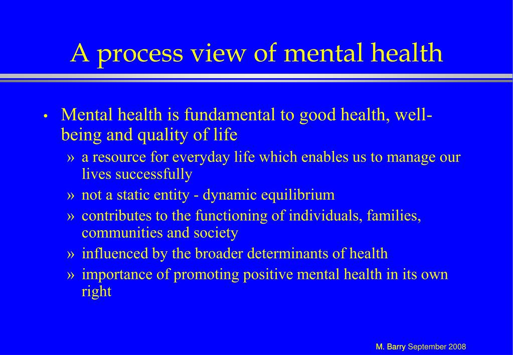 A process view of mental health