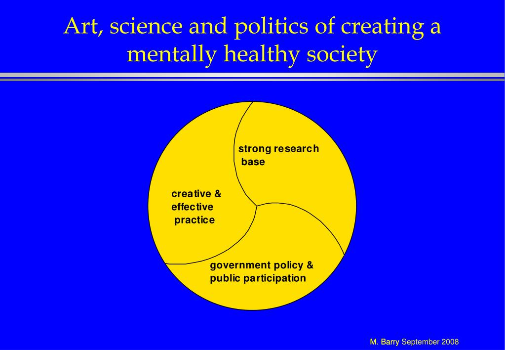 Art, science and politics of creating a mentally healthy society