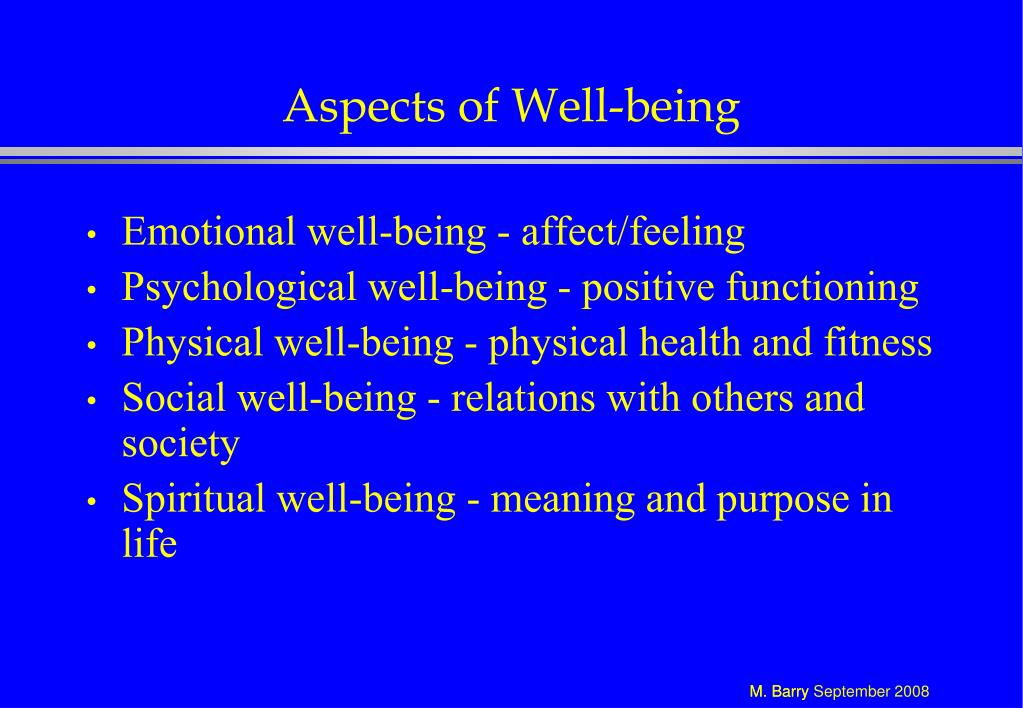Aspects of Well-being