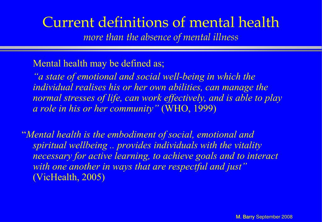 Current definitions of mental health