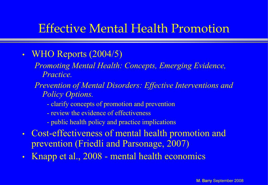Effective Mental Health Promotion
