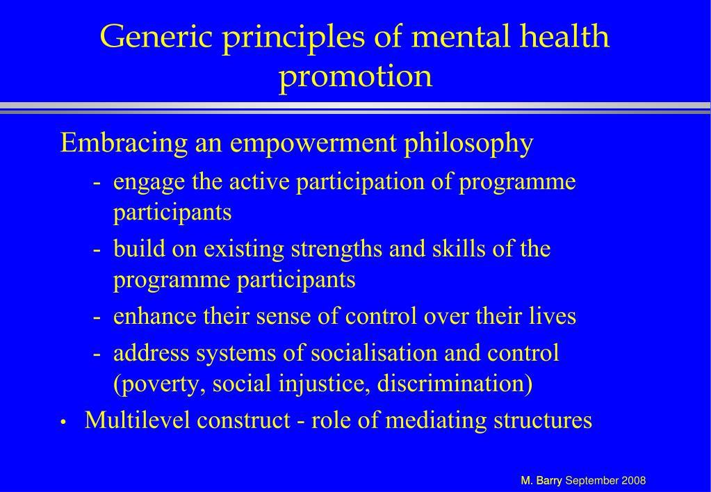 Generic principles of mental health promotion