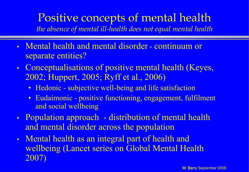 Positive concepts of mental health