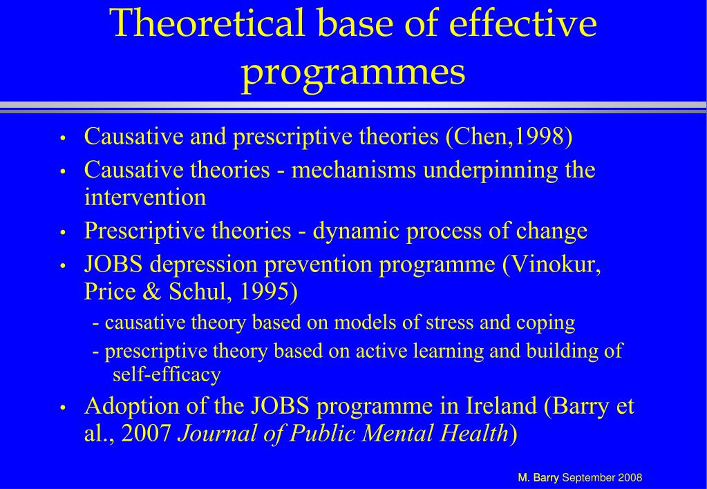 Theoretical base of effective programmes