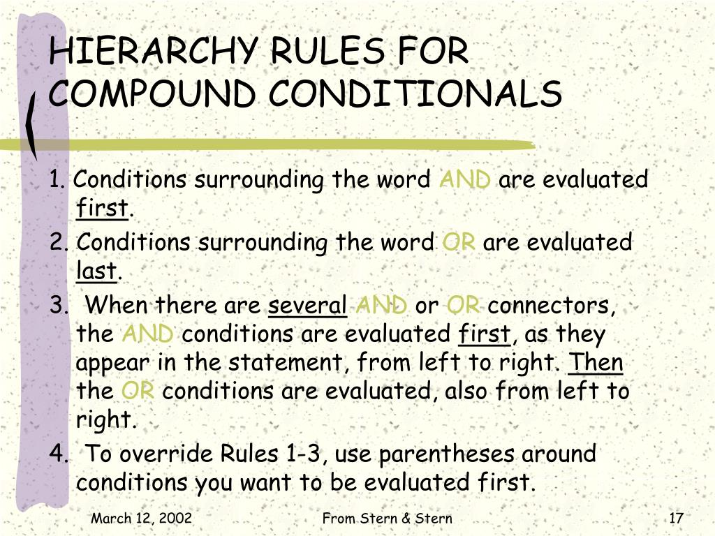 HIERARCHY RULES FOR                 COMPOUND CONDITIONALS