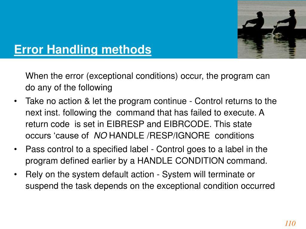 Error Handling methods