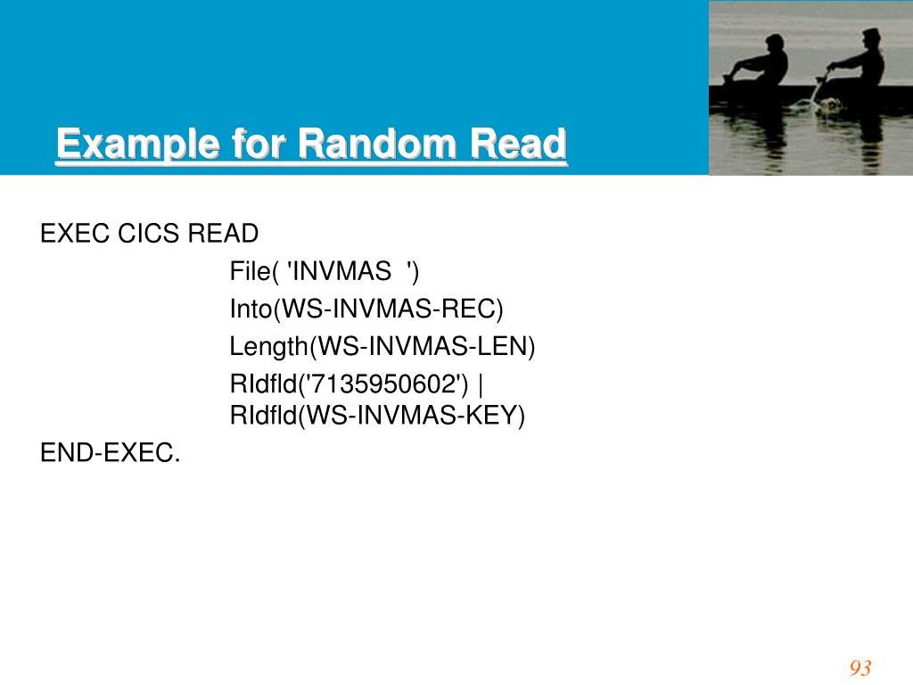 Example for Random Read