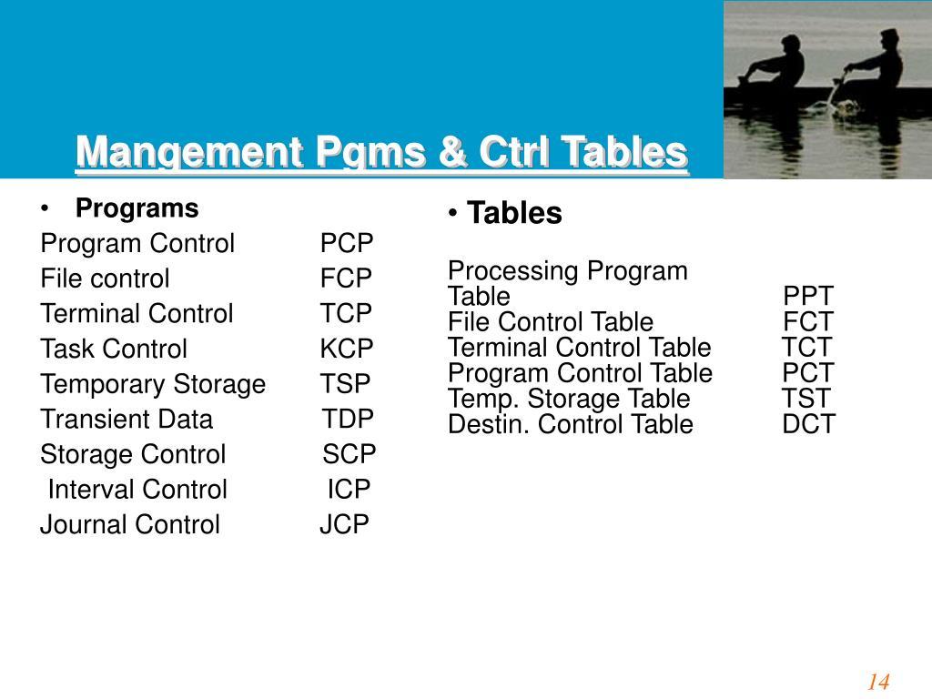 Mangement Pgms & Ctrl Tables