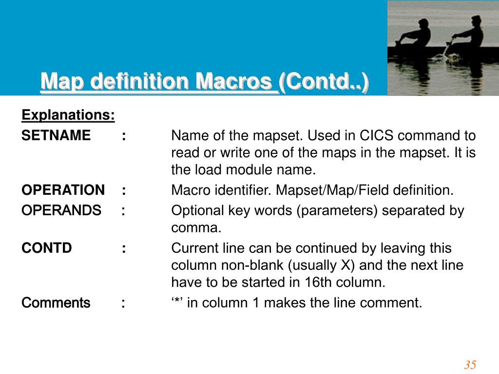 Map definition Macros